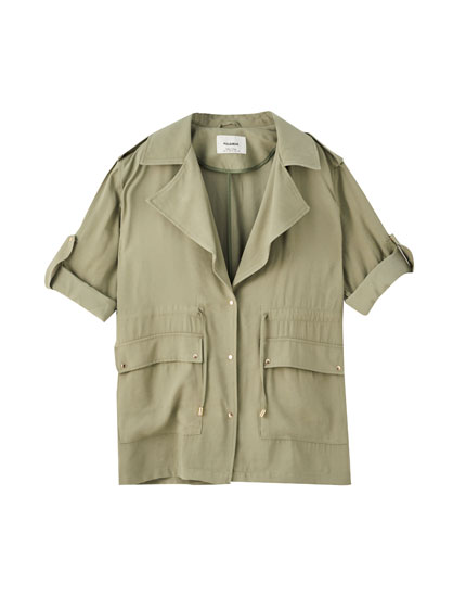 Drawstring safari jacket
