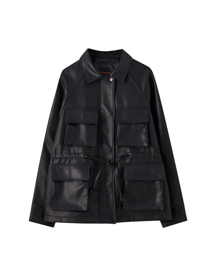 Worker-style faux leather jacket
