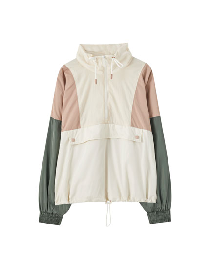 Panelled nylon jacket with pouch pocket
