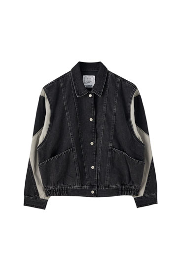 Denim jacket with contrast panels