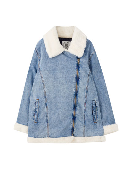 Denim biker jacket with faux fur detail