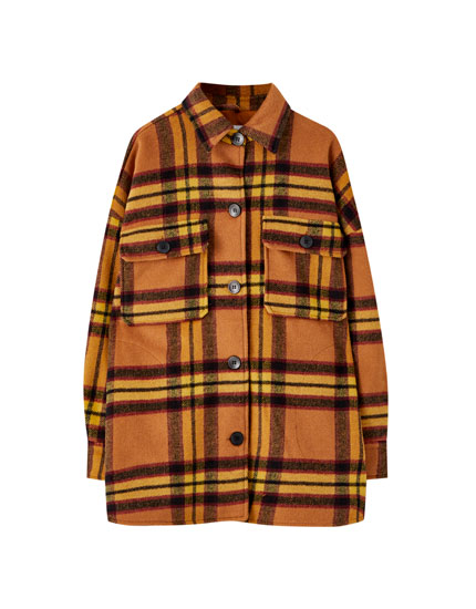 Checked overshirt with large pockets