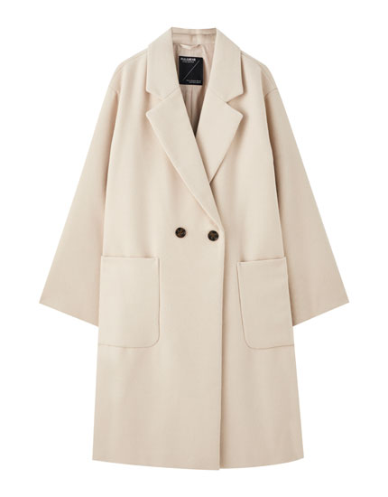 Long coat with patch pockets