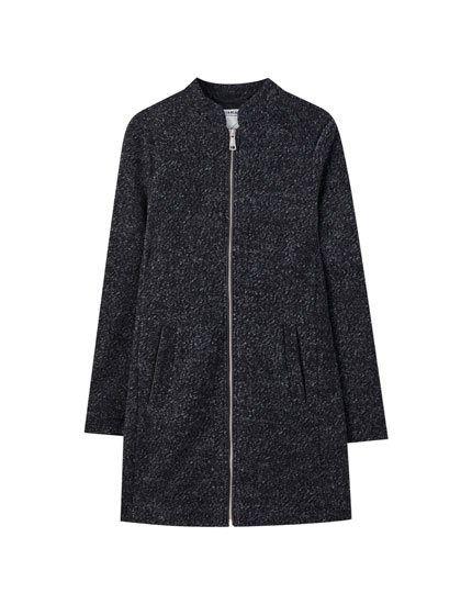 Zip-up knit coat