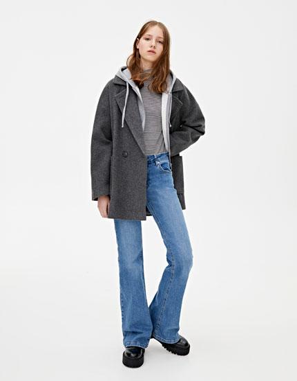 Abrigo paño básico gris