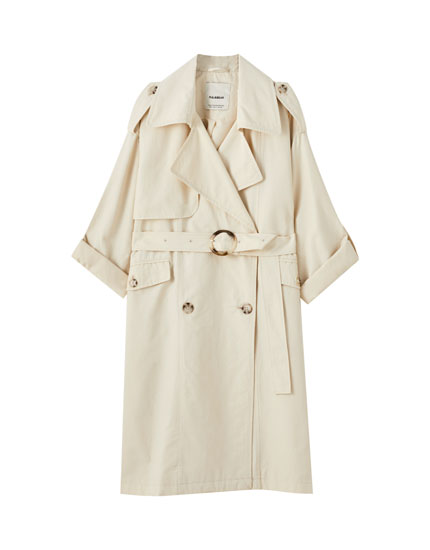 Oversized double-breasted trench coat