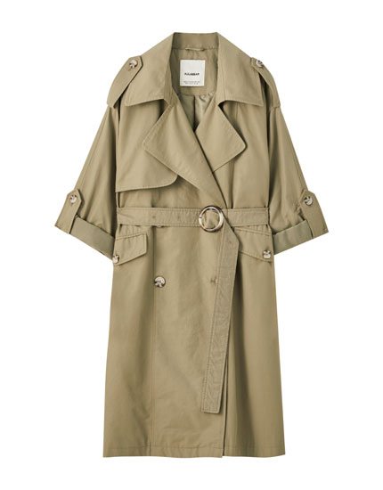 Four-button double-breasted trench coat