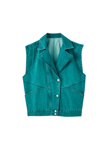 '80s green denim gilet