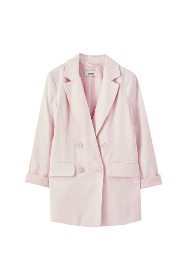 Double-breasted pastel blazer