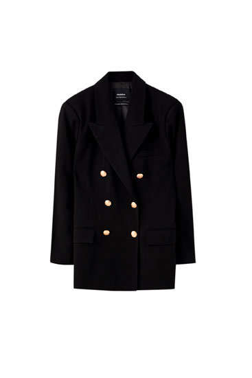 Oversized blazer with metallic buttons