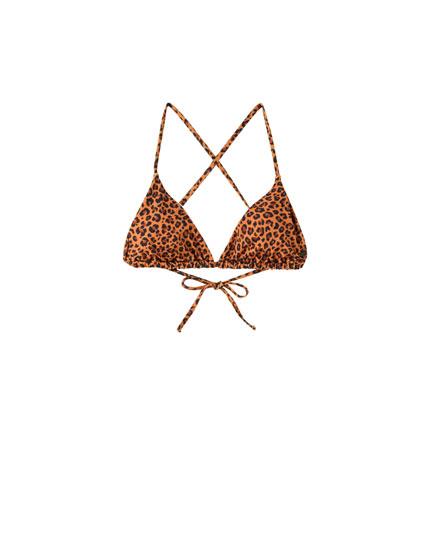 Leopard print triangle bikini top