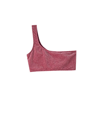 Asymmetric lilac bikini top