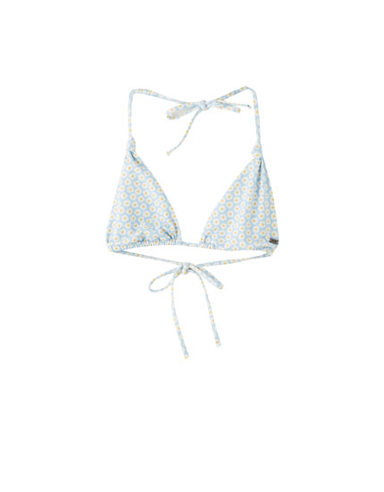 Daisy print triangle bikini top