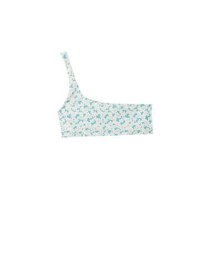 Asymmetric floral print bikini top