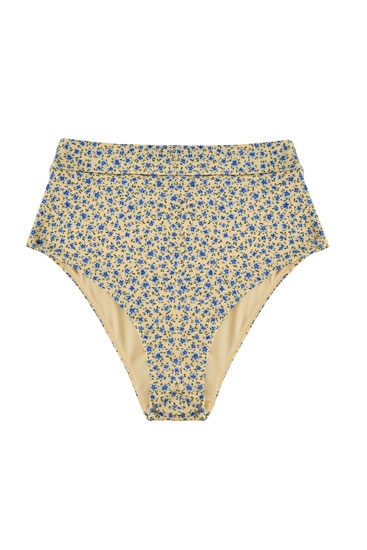 Floral print high-rise bikini bottoms
