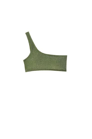 Sparkly green bandeau bikini top