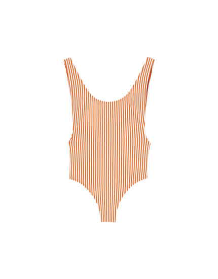 Orange striped swimsuit
