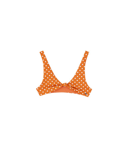 Orange polka dot bikini top