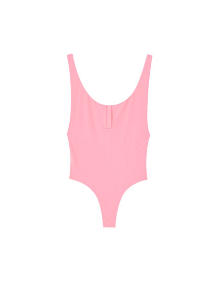 Plain swimsuit with front buttons