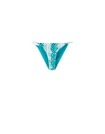 Blue snakeskin print bikini bottoms