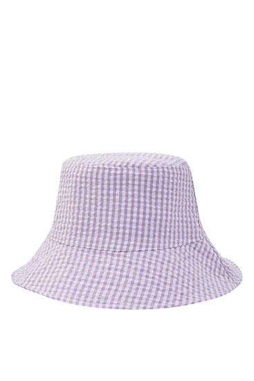 Λιλά καπέλο bucket με καρό σχέδιο