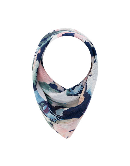 Watercolour floral print neckerchief