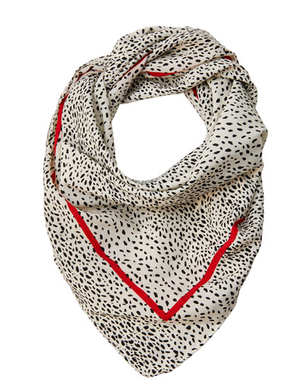 Dalmatian print scarf with contrast border