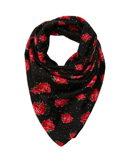 Black rose print neckerchief