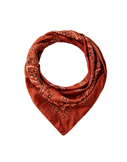Printed satin scarf