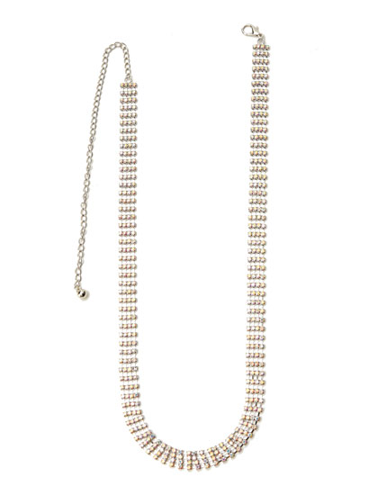 Chain belt with rhinestones