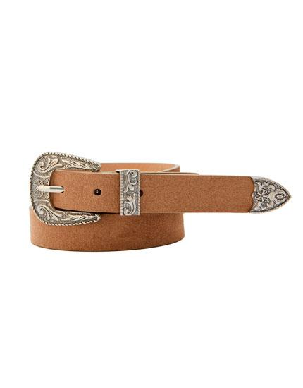 Faux suede cowboy-style belt
