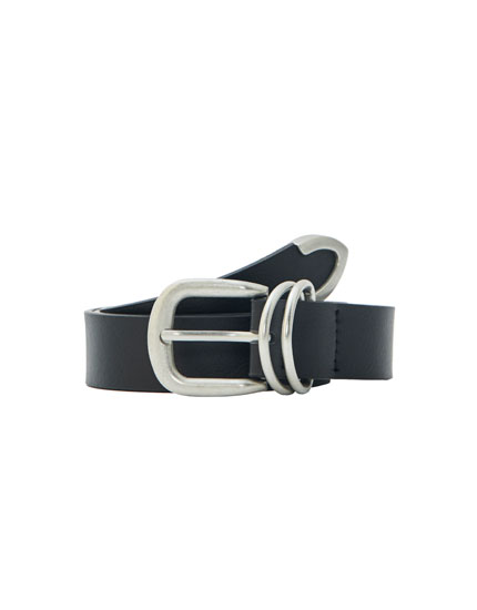 Faux leather black belt