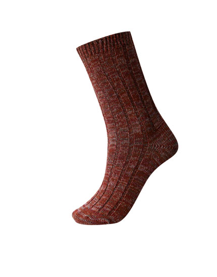 Flecked red sports socks