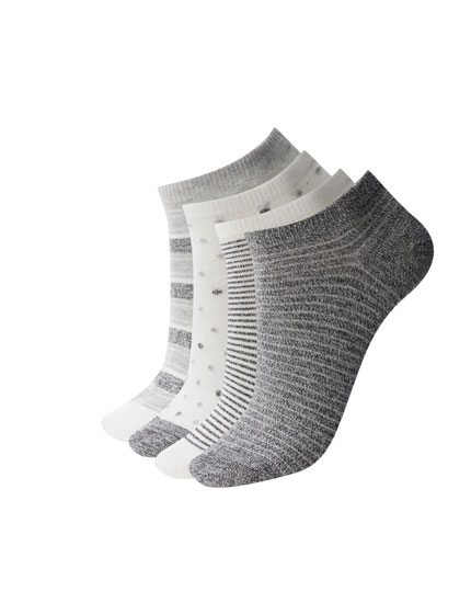 3-pack of grey printed ankle socks