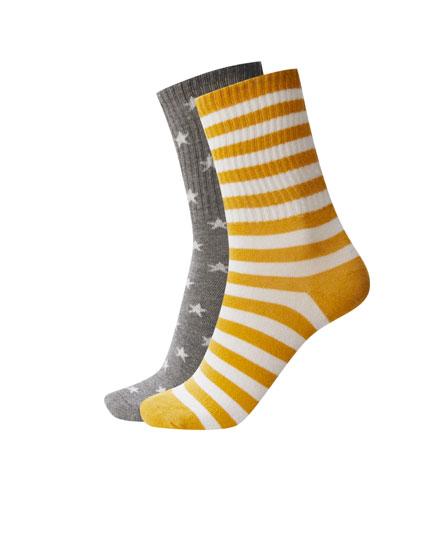 2-pack of star print sports socks