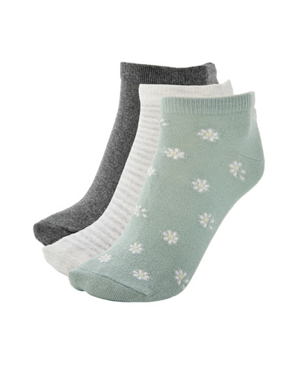 3-pack of daisy printed ankle socks