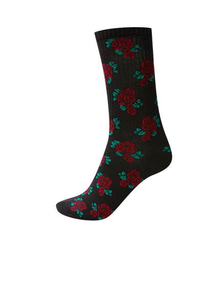 Κάλτσες με σχέδιο με τριαντάφυλλα