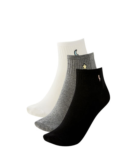 Pack of ankle socks with shape detail