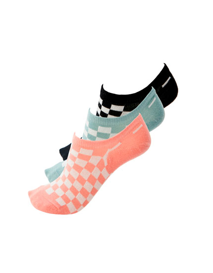 3-pack of checked print ankle socks