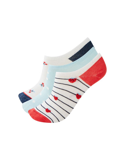 Pack of no-show socks with cherry print