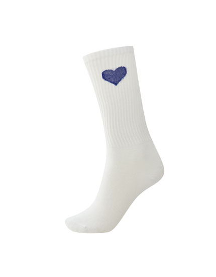 Embroidered heart sports socks