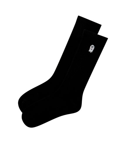 Ghost print sports socks in black