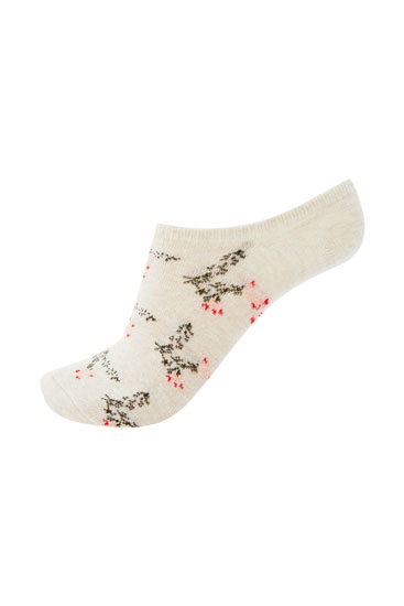 Pack of floral print and ribbed no-show socks