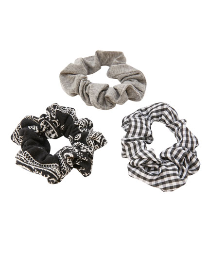 3-pack of printed scrunchies