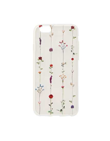 Carcasa smartphone transparente flores