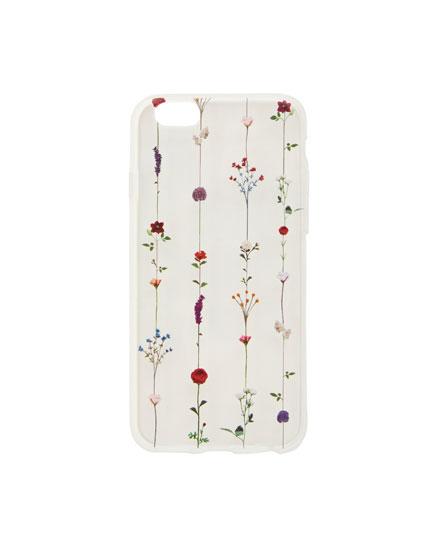 Transparent floral print smartphone case