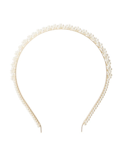 Gold headband with faux pearls