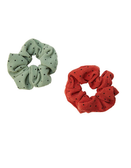 Pack of 2 corduroy polka dot scrunchies