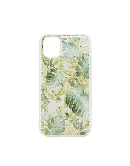 Sparkly leaf print smartphone case