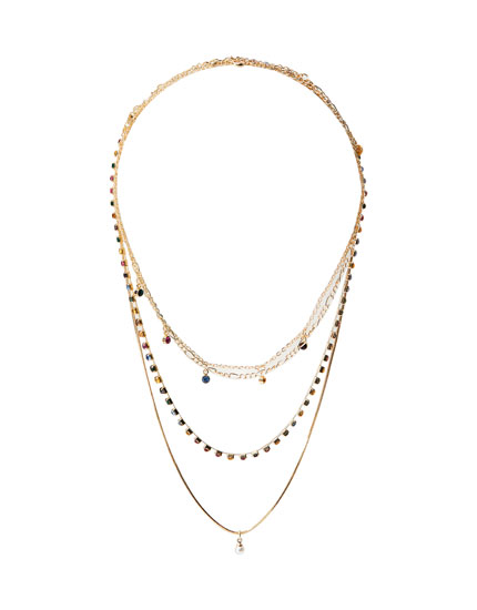 Pack 4 collares strass multicolor